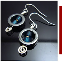 wirewrapped hermatite japanese bead earrings