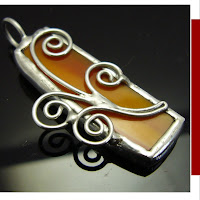 2 sided soldered stained glass pendant