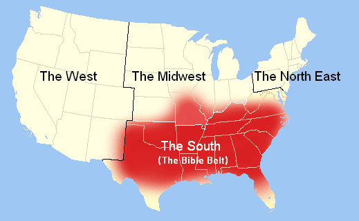 Time To Golightly Do I Live In The Bible Belt - Accent map of us