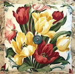 50's Fabric TULIPS 15 Inch Decorator Throw PILLOW with Vintage Button
