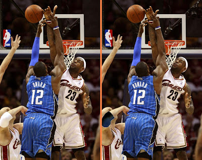 dwight howard. James Blocks Dwight Howard