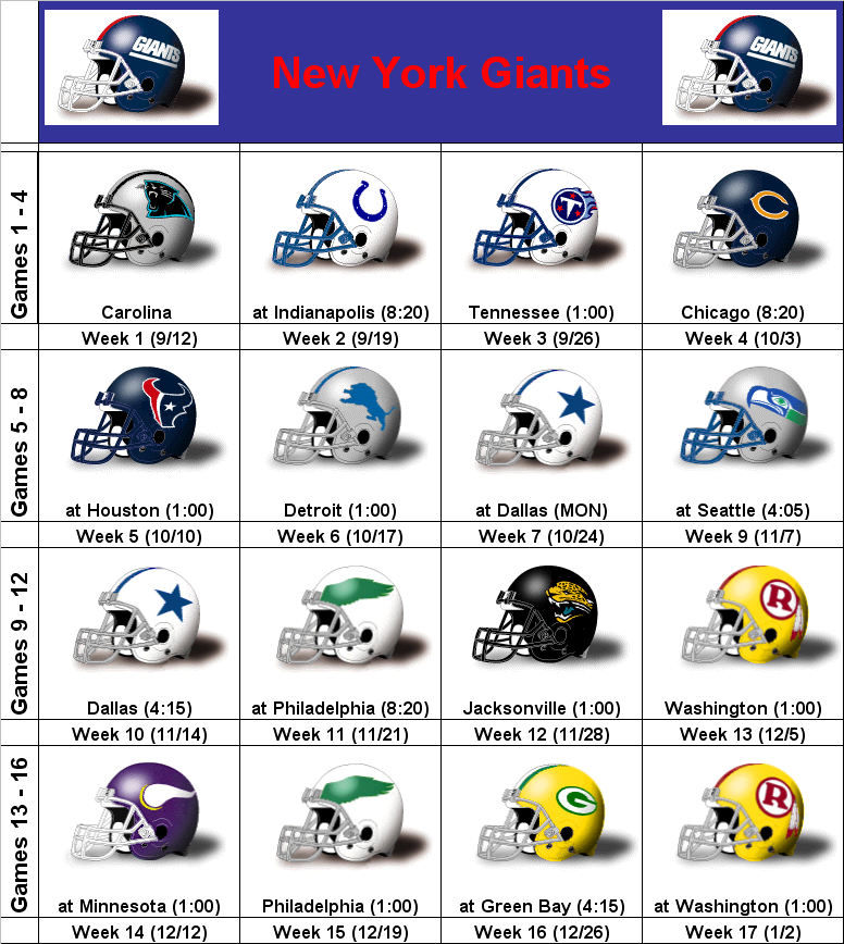 graphic about New York Giants Printable Schedule named SimonOnSports: 2010 Fresh new York Giants Printable Helmet Program