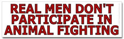 Real men don't participate in animal fighting, anti-dogfighting, anti-Michael Vick merchandise at SmartAssProducts.com -- t-shirts, bumper stickers, buttons, hats and more