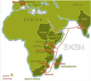 SEACOM Africa map