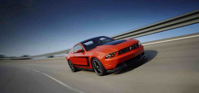 2012 Ford  Mustang Boss 302 front view on road