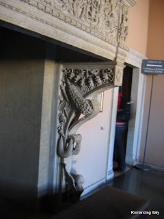 Intricate craftsmanship of fireplace mantel Vatican Museum