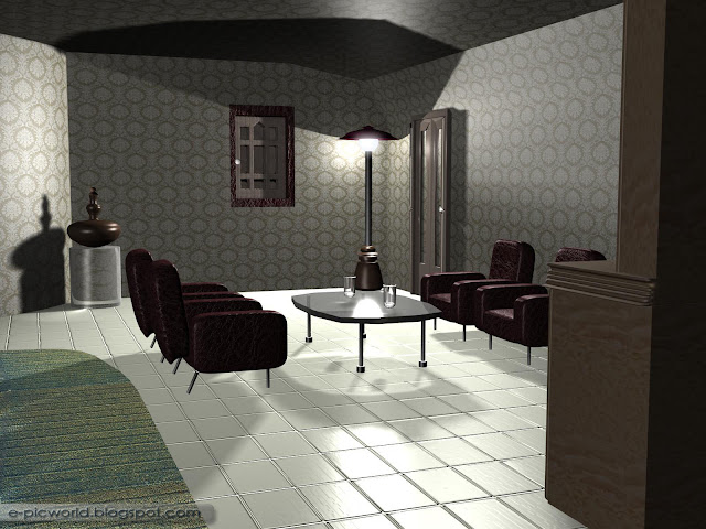 3d interior design wallpaper - living room at night