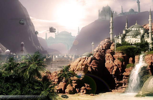 canyons and structures matte painting wallpaper