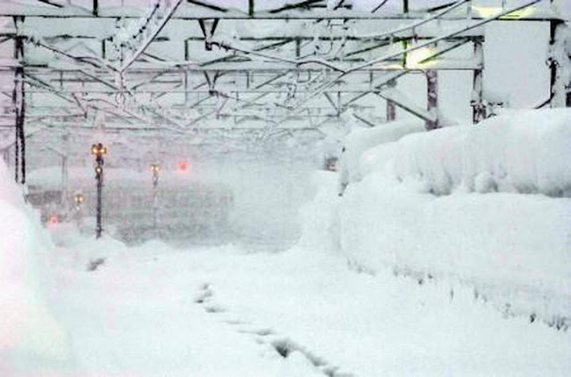 hard snow fall in japan photo