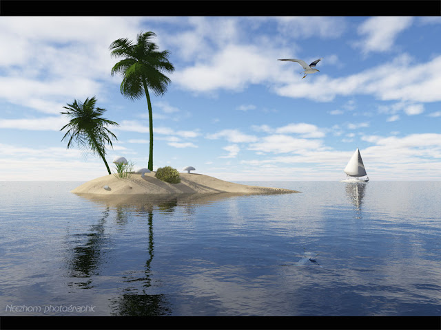 small island 3d landscape