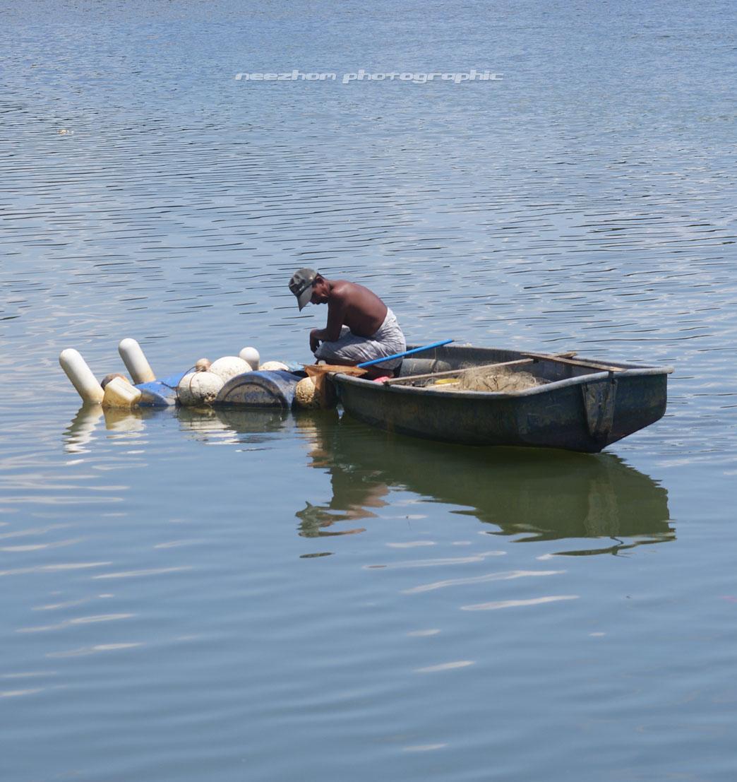 Periksa pukat di sungai dari atas bot