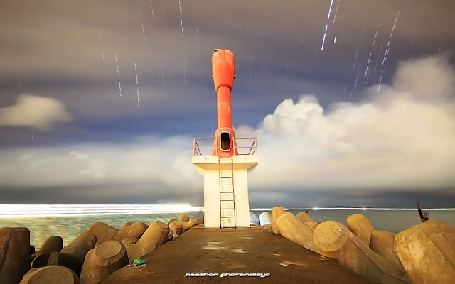 Chendering light house and star trails