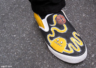painted furry basketball monster shoes