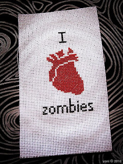 finished zombie cross-stitch
