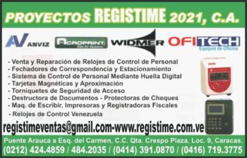 PROYECTOS REGISTIME 2021, C.A. en Paginas Amarillas tu guia Comercial