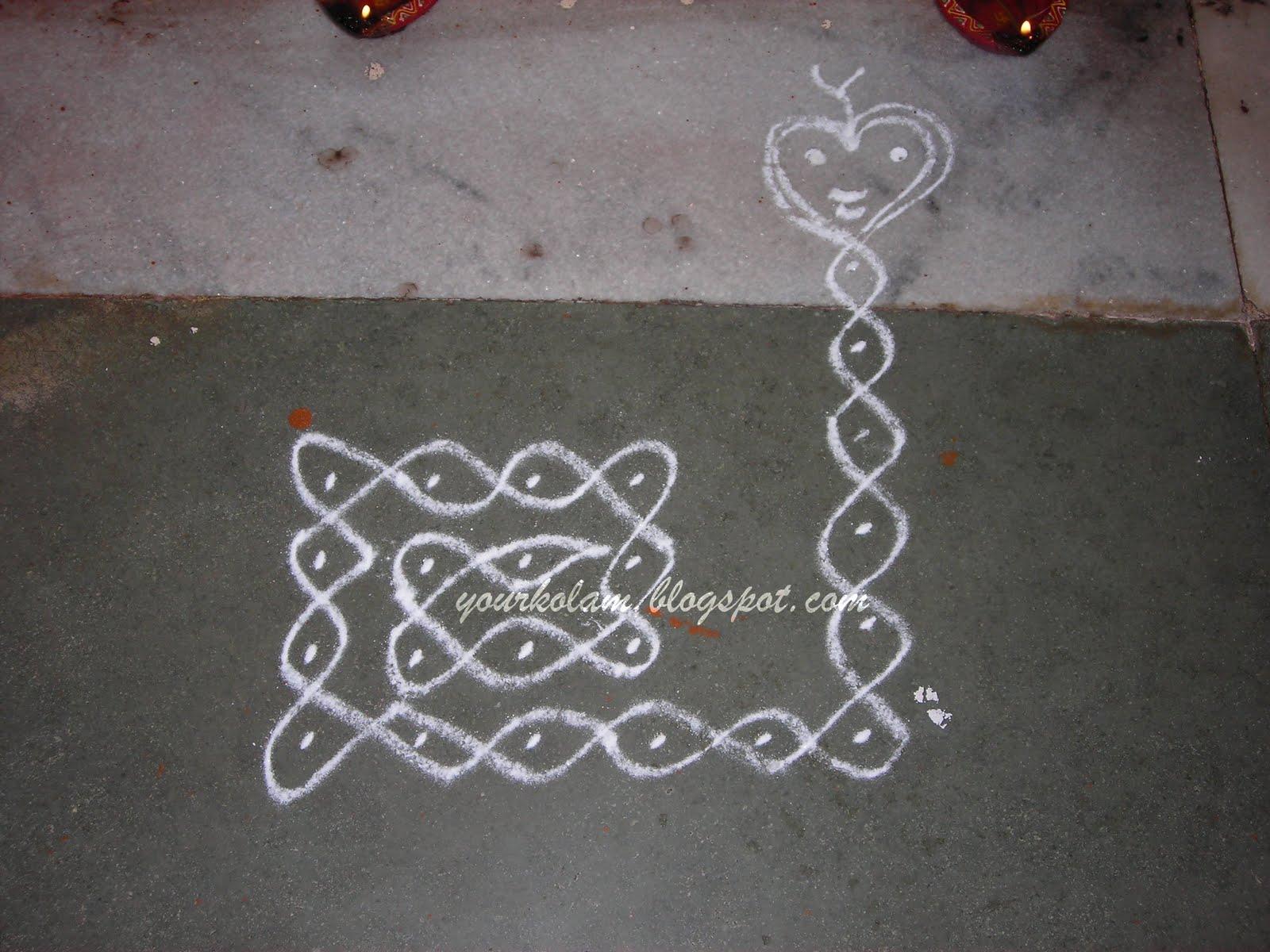 அழியாத கோலம்/ ముగ్గులు / रंगोली : Snake kolam Rangoli Designs With Dots For New Year 2012