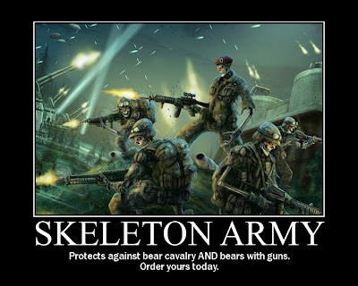 Skeleton Army Demotivational Poster