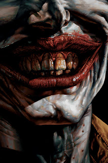 A close up of Jokers scars