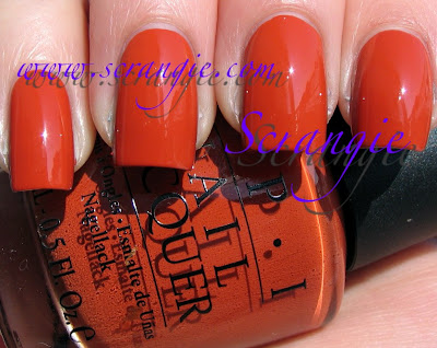 This is more of a burnt orange Opi A Good Mandarin Is Hard To Find Vs Hot And Spicy