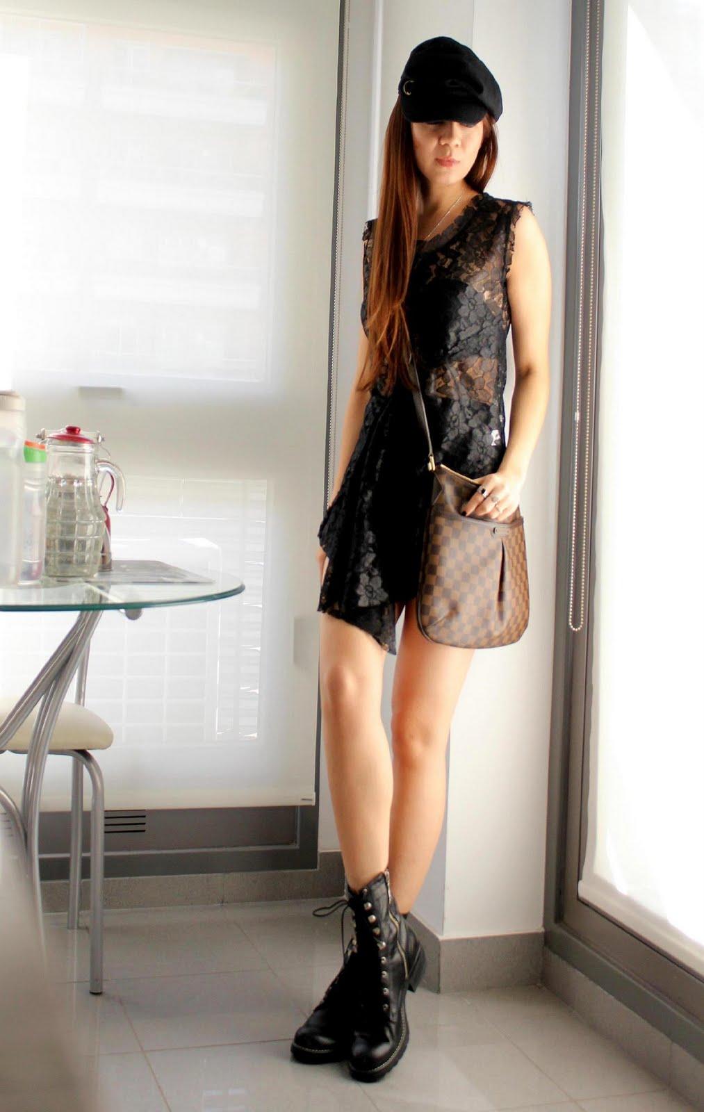 mariposa black out louis vitton bag lace dress