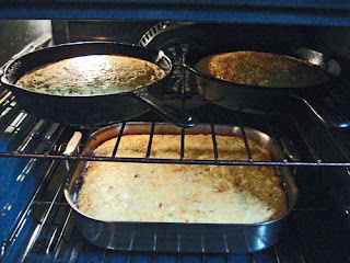 Mexican and Blue Moon/Music/Full Moon cornbreads, nearly ready