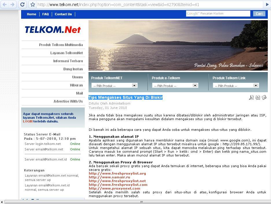 Gambar Situs Telkom yang Memberikan Tips Membuka Situs yang Diblokir