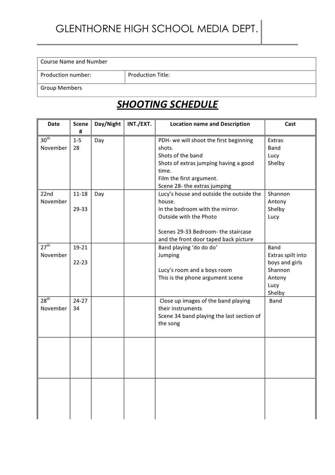 luciie astwood task eleven shooting schedule. Black Bedroom Furniture Sets. Home Design Ideas