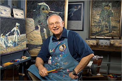 Alan Bean in front of his painting easel at his art studio in Houston, October 14, 2008. Credit: Photo by Carolyn Russo/NASM, National Air and Space Museum, Smithsonian Institution