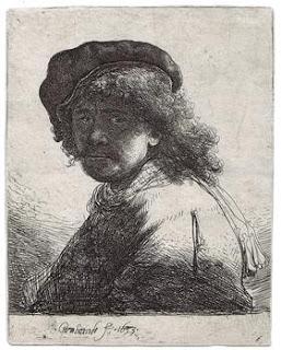 Rembrandt in Cap & Scarf.Rembrandt Van Rijn.