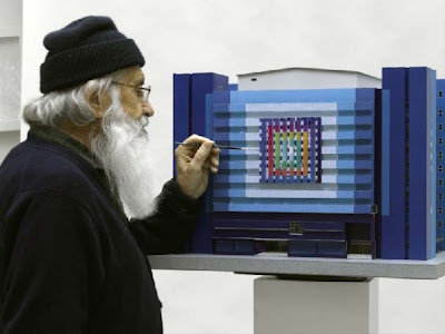 Yaacov Agam finishing the model of The Heart of the Fountainhead