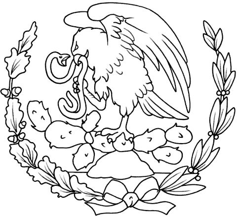 Dibujo del escudo nacional mexicano para colorear - Imagui