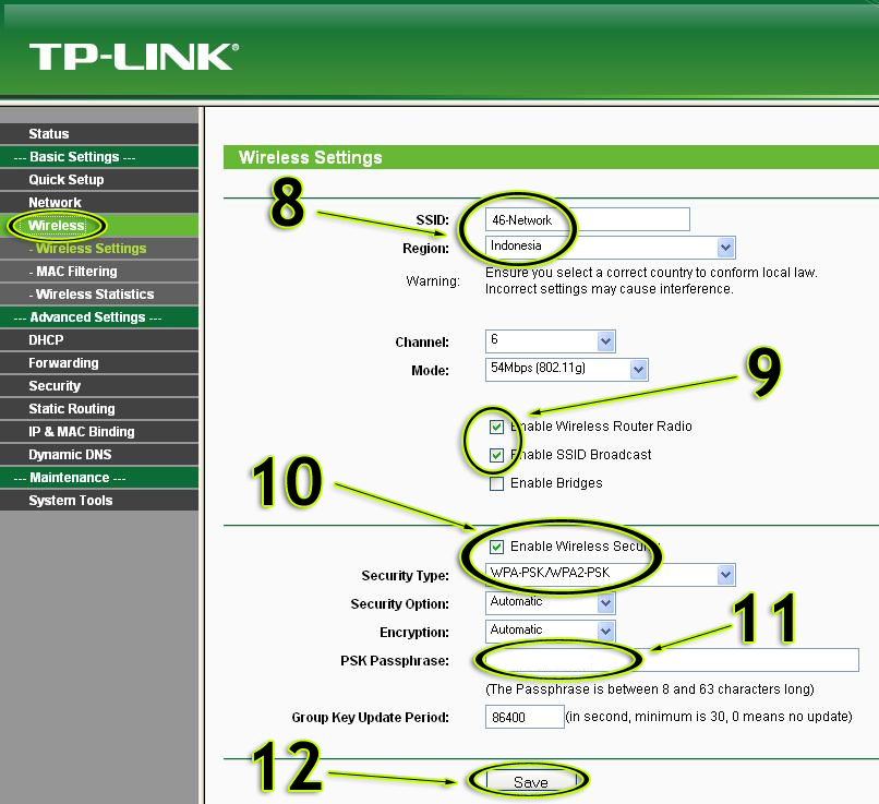 how to change tp link wireless router settings
