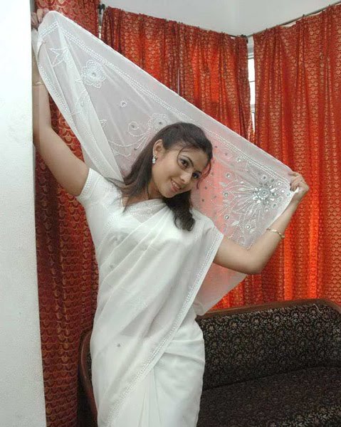 saira looking cool in white saree photo gallery