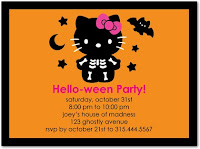 Hello Kitty Halloween Party Card