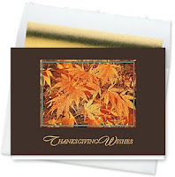 Falling Copper and Gold Leaves Thanksgiving Card