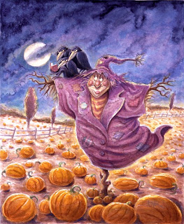 Halloween Witch Scarecrow Card