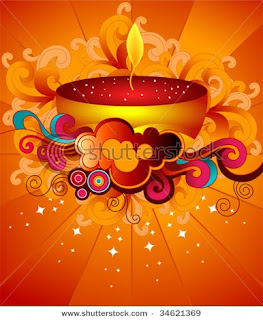 colorful painted diwali greetings