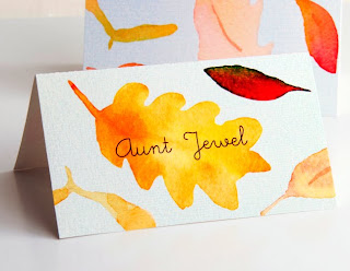 fall leaves place cards thanksgiving