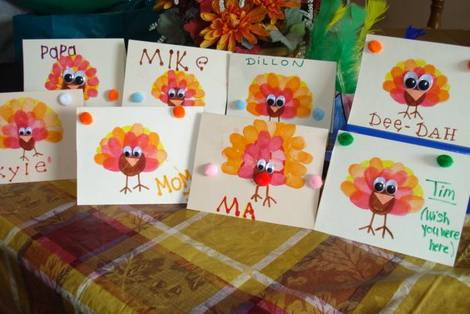 Thanksgiving cards homemade thanksgiving placecards for Homemade thanksgiving decorations for the home