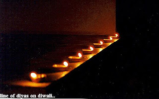 line of diyas on diwali
