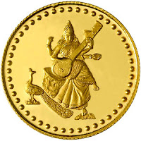 religious gold coin for diwali