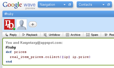 Google Wave Syntax Highlighting