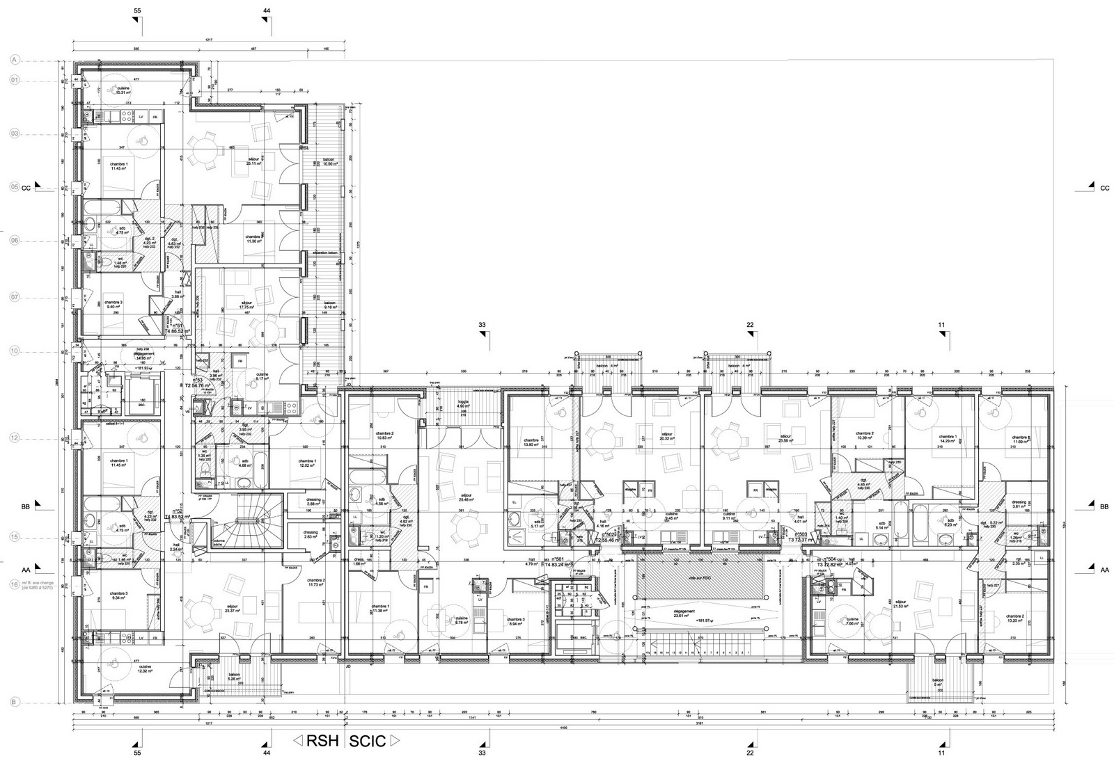 1 1 1 lyon confluence plan tage courant type a for Courant architectural