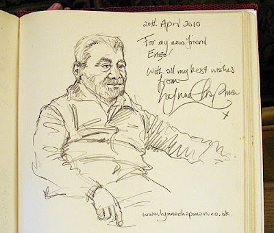 I was given a huge guestbook and asked to do a drawing of Enzo.