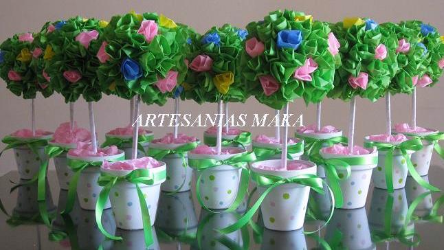 Souvenirs y centros de mesa maka arbolitos decorados con - Centros de mesa de papel ...