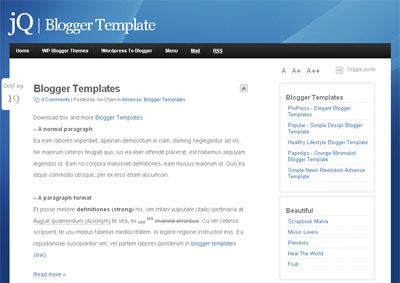 jQ - Clean Minimalist Blogger Template