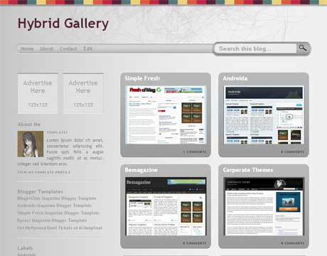 Hybrid Gallery Magazine Blogger Template