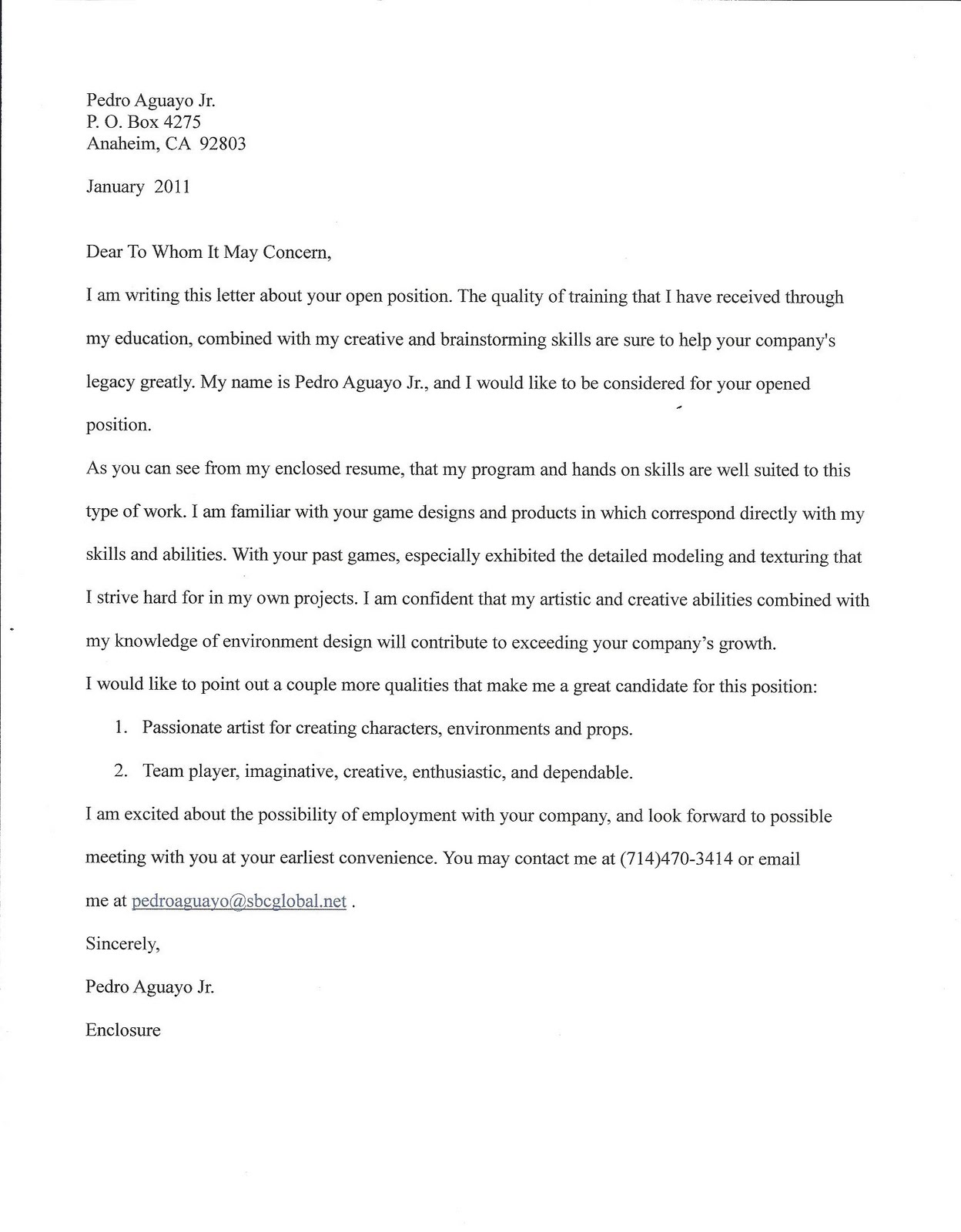 cover letter for my english writing portfolio