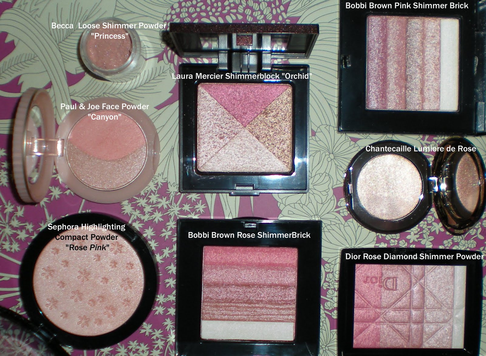 Pink facial highlighters