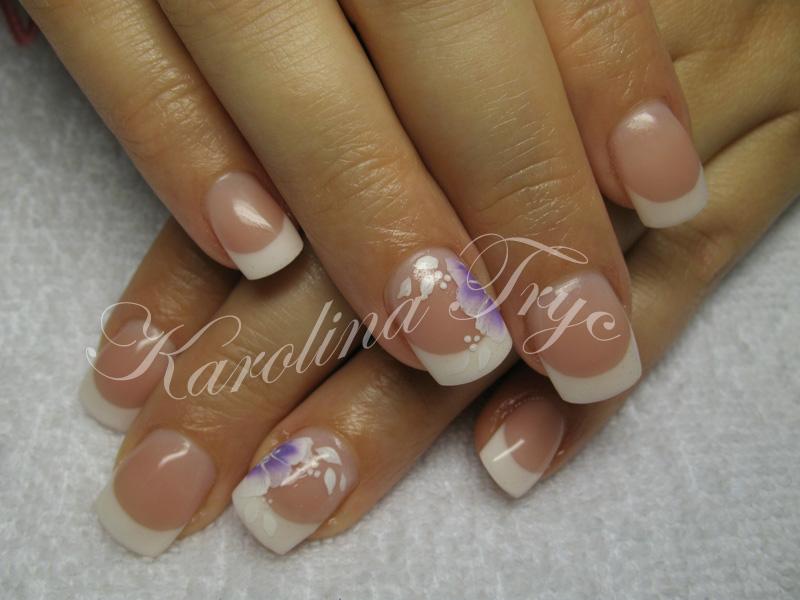 Beautiful Nail Art: Natural nails uv gel overlay - hand painted flowers